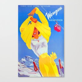 Wengen - Vintage Swiss Ski Poster Canvas Print