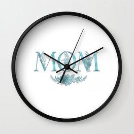 MOM Flower Monogram Blue Wall Clock