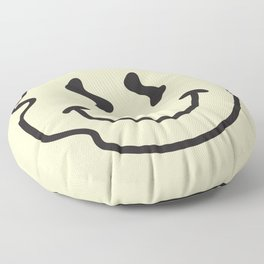 Wonky Smiley Face - Black and Cream Floor Pillow