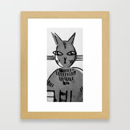 Judgemental cat Framed Art Print