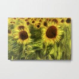Sunflower Abstract Art Metal Print