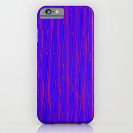 Vertical curved violet lines on a blue tree. iPhone Case