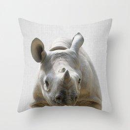 Baby Rhino - Colorful Throw Pillow