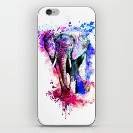 Colorful elephant drawing iPhone Skin