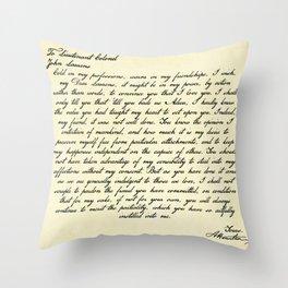 Alexander Hamilton Letter to John Laurens Throw Pillow