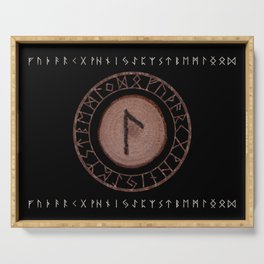 Laguz Elder Futhark Rune of the unconscious context of becoming or the evolutionary process Serving Tray
