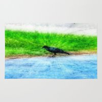 crow Area & Throw Rugs featuring Crow by Geni