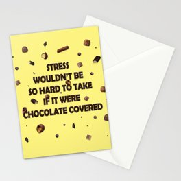 Falling chocolates with yellow background Stationery Cards