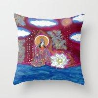 budi satria kwan Throw Pillows featuring Offerings-Kwan Yin by J. Lashua Art