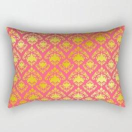 Pink and Gold Damask Rectangular Pillow