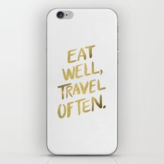 Eat Well Travel Often on Gold iPhone Skin