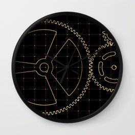 Set of orange gears and cogs on virtual screen Wall Clock