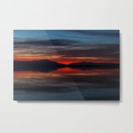 Final light of sunset turning sky and water red Metal Print