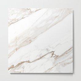 Cream White Marble Metal Print