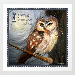 I Love You To The Moon And Back Owl Art Print