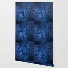TROPICAL BLUE LEAVES PATTERN Wallpaper