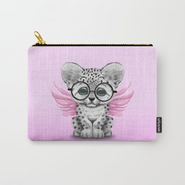Snow Leopard Cub Fairy Wearing Glasses on Pink Carry-All Pouch