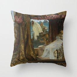 Lawrence Alma-Tadema - Antony and Cleopatra Throw Pillow