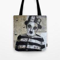 chaplin Tote Bags featuring Charles Chaplin  by Krzyzanowski Art