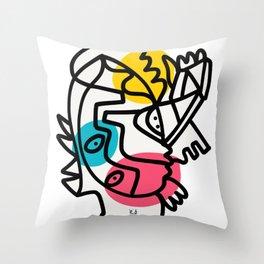 Minimal Graffiti Line Art Yellow Blue Pink Black Throw Pillow