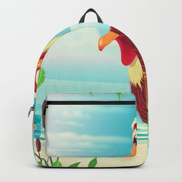 Vintage Pelican on the beach Backpack