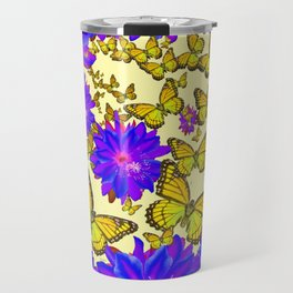 Amethyst Purple Flowers Butterfly Floral  Art Travel Mug