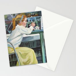 Girls At Ice Cream Parlor Stationery Cards