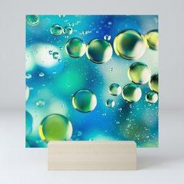 Macro Water Droplets  Aquamarine Soft Green Citron Lemon Yellow and Blue jewel tones Mini Art Print