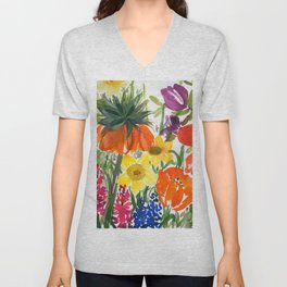 daffodils and hyacinths: watercolor painting Unisex V-Neck