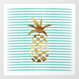 Pineapple & Stripes - Mint/White/Gold Art Print