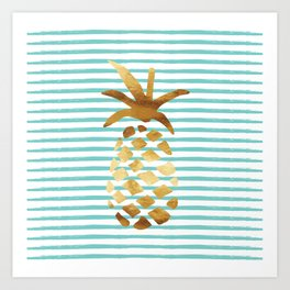 Pineapple & Stripes - Mint/White/Gold Art Print