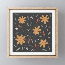 Autumn floral pattern on dark background Framed Mini Art Print