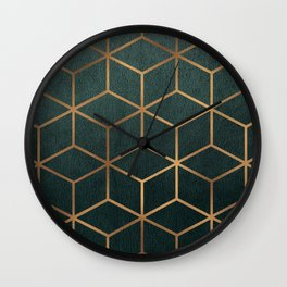 Dark Teal and Gold - Geometric Textured Gradient Cube Design Wall Clock