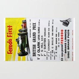 British Grand Prix, Silverstone, 1965, Vintage Poster, car poster Rug