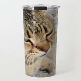 Relaxed Tabby Cat Against Stones and Pebbles Travel Mug