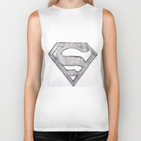 superman Biker Tanks featuring Superman by Frances Roughton