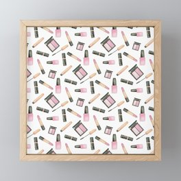 Watercolor beauty product pattern Framed Mini Art Print