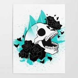 Skull 'n' Roses (ScribbleNetty-Colored) Poster