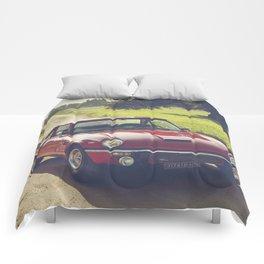Triumph spitfire, classic english sports car, hasselblad photo Comforters