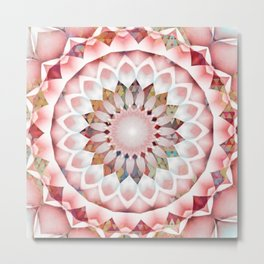 Flower Patchwork Kaleidoscope Pink Metal Print