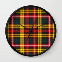 Tartan yellow, green and red Wall Clock