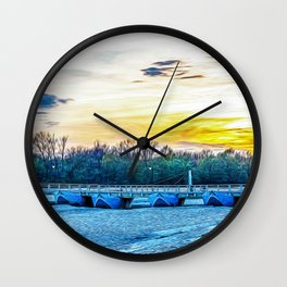 Boats bridge in the Ticino river natural park during winter before sunset Wall Clock