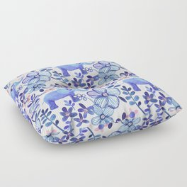 Pale Coral, White and Purple Elephant and Floral Watercolor Pattern Floor Pillow