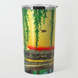 Yatsumi Bridge and Mount Fuji Japan Travel Mug