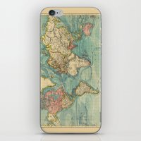 vintage map iPhone & iPod Skins featuring Vintage map by Hipster's Wonderland