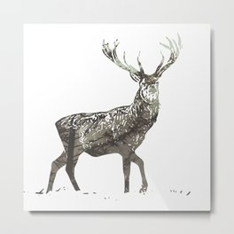 Elk in the Mist Metal Print