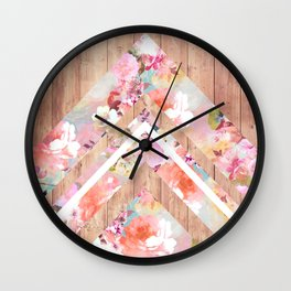 Vintage floral watercolor rustic brown wood geometric triangles Wall Clock
