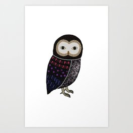 Black owl with red tone Art Print