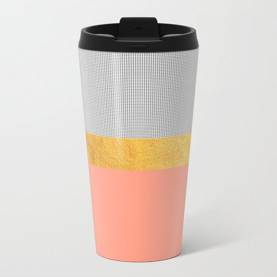 Minimalist Fashion Peach Pink + Gold + Squares Metal Travel Mug