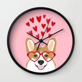 Corgi heart glasses dog breed valentines day welsh corgis gifts Wall Clock